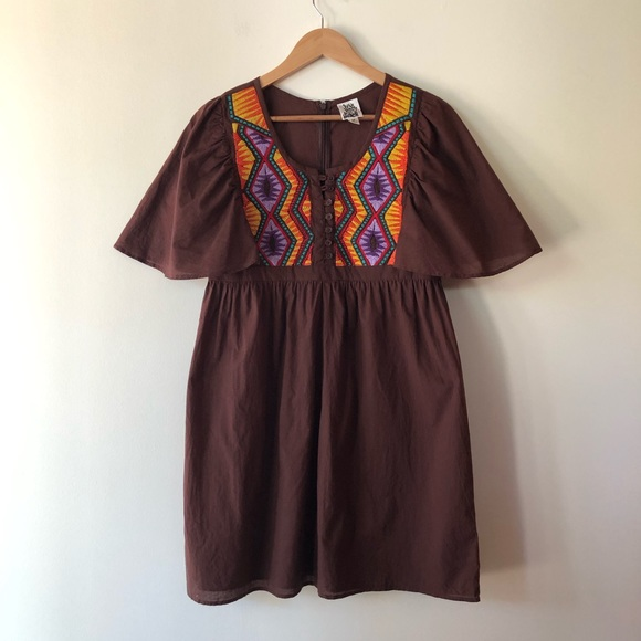 ivy jane Dresses & Skirts - Ivy Jane Brown Embroidered Tunic Dress size M